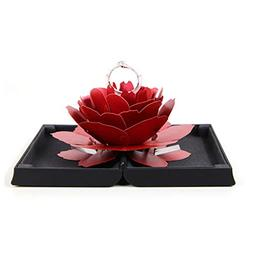 LtrottedJ 3D Pop Up Rose Ring Box Wedding Engagement Jewelry