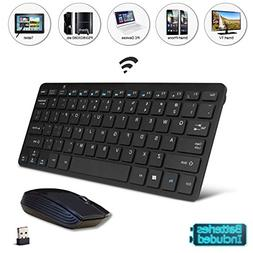 Black Wireless Mini Keyboard & Mouse Easy Remote Control for
