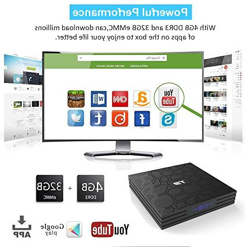 EASYTONE Android 8.1 TV Box with 4GB 32GB New Android 64 Bits/ 3D 4K Smart Media with Mini Keyboard