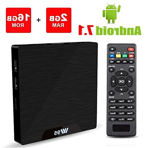 Viden W95 2018 New Generation Android TV Box with Amlogic S905W 64Bits Quad-Core 2GB+16GB Android 7.1 Smart TV Box USB*2 Built-in Wi-Fi 4K UHD Web TV Box HDMI Output