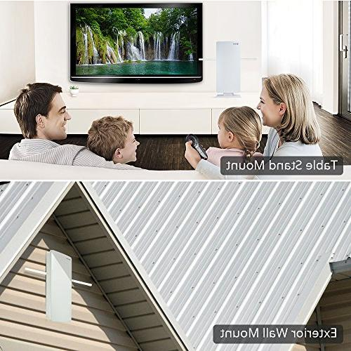 ANTOP Amplified Outdoor/Indoor HDTV with High Gain and Built-in 4G LTE 60/70 Long Multi-Directional 39ft Coaxial Cable