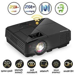 LED Smart Android WIFI Home Theater  HD Video Projector Blue