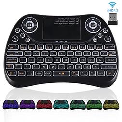 Upgraded 2018,Colorful 2.4GHz Wireless Mini Keyboard Backlit