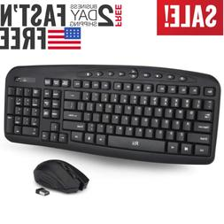 Wireless Keyboard and Mouse with 10 Media Hot Keys for PC La